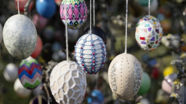Easter eggs hang on an apple tree decorated with approximately 10,000 Easter eggs on the property of pensioner Volker Kraft