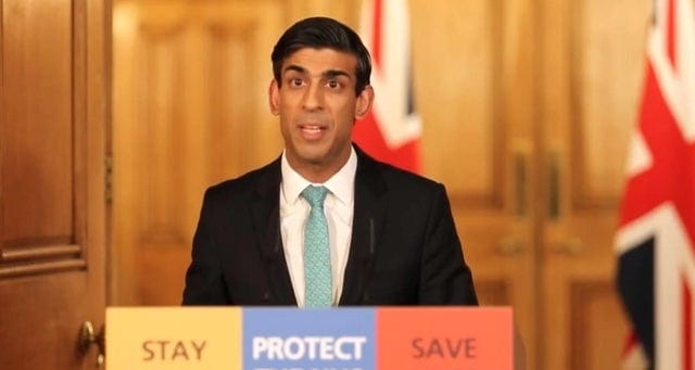 Article thumbnail: Chancellor Rishi Sunak launched the state aid programme for workers last month