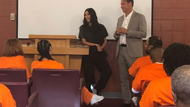 Kim Kardashian West meets inmates as part of her documentary on the US criminal justice system (Photo: Oxygen/hayu)