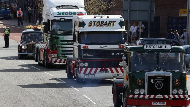 Article thumbnail: The heritage of the iconic Eddie Stobart name was displayed at the funeral or its eponymous founder in 2011 (Photo: Christopher Furlong/Getty Images)