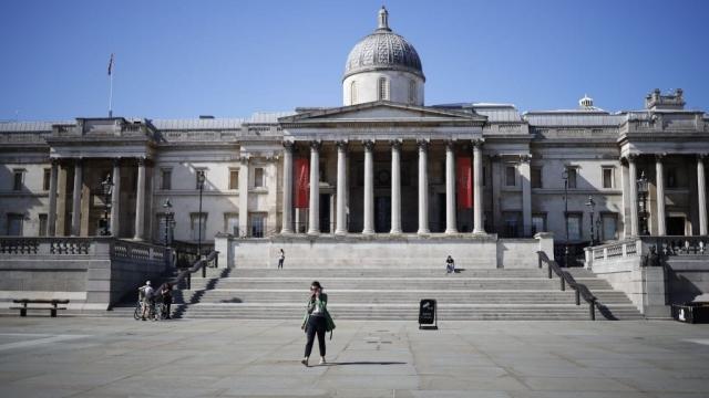 Trafalgar Square is virtually deserted as the UK remains on lockdown