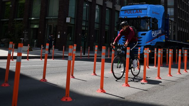 Pop-up cycle lanes are appearing across the capital in an effort to get people cycling
