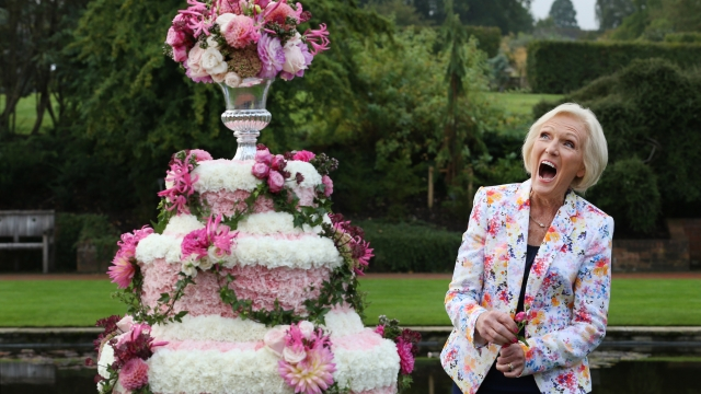 Mary Berry shares one of her picnic recipes for families this summer. Picture shows the former Bake Off judge at the RHS Flower Show at Wisley Gardens