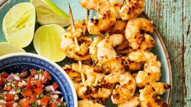 Article thumbnail: Serve the prawns with the salsa and lime wedges for a tasty meal