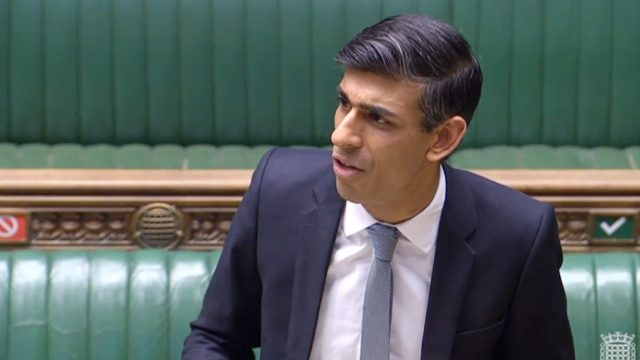 Chancellor Rishi Sunak speaking in the House of Commons