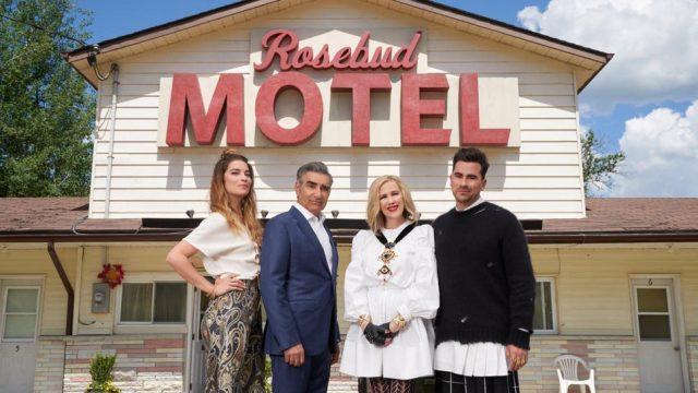 The Schitt's Creek cast: Annie Murphy, Eugene Levy, Catherine O'Hara and Dan Levy (Photo: Netflix)
