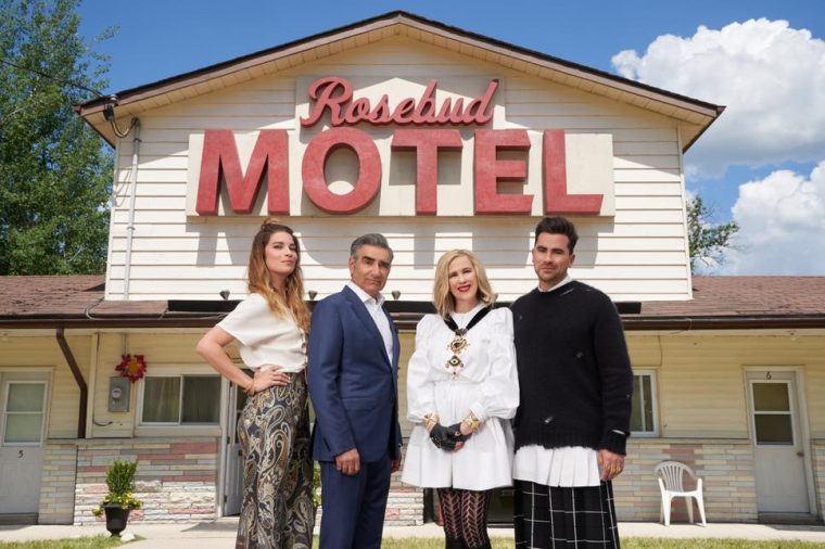 The Schitt's Creek cast: Annie Murphy, Eugene Levy, Catherine O'Hara and Dan Levy (Photo: Netflix)